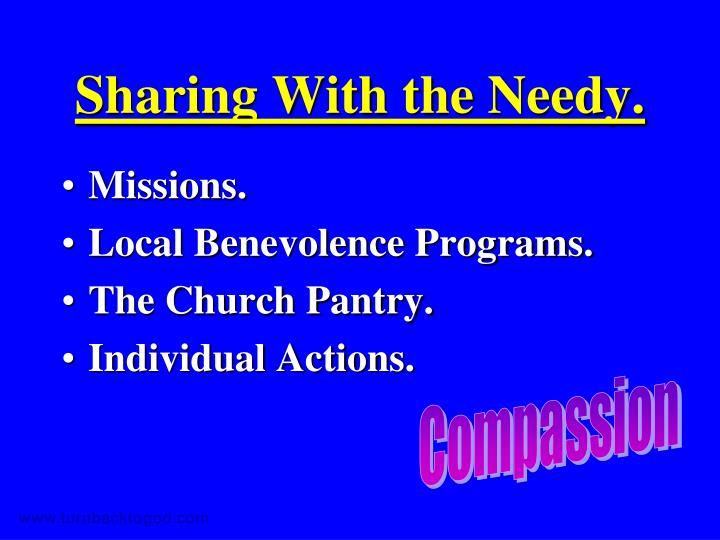 Sharing With the Needy.