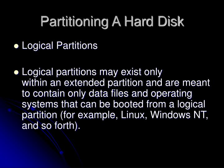 Partitioning A Hard Disk