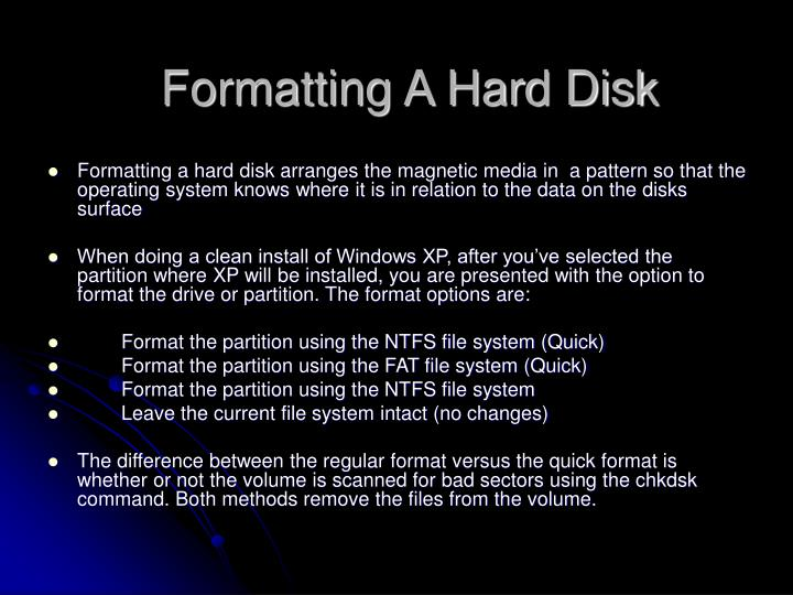 Formatting A Hard Disk