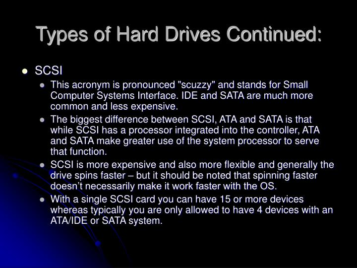 Types of Hard Drives Continued: