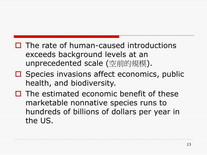 The rate of human-caused introductions exceeds background levels at an unprecedented scale (