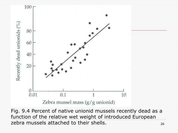 Fig. 9.4 Percent of native unionid mussels recently dead as a function of the relative wet weight of introduced European zebra mussels attached to their shells.