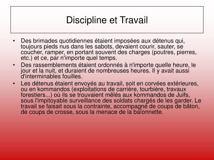 Discipline et Travail