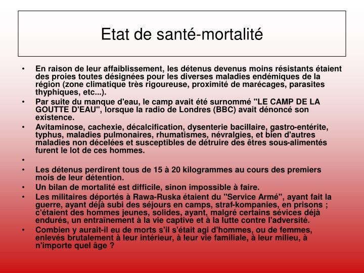 Etat de santé-mortalité