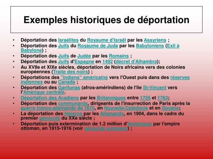 Exemples historiques de déportation