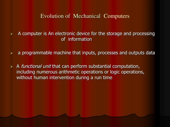 Evolution of mechanical computers