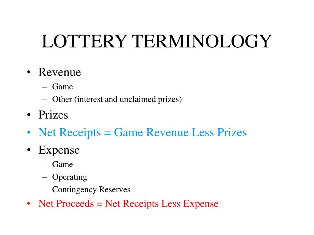 LOTTERY TERMINOLOGY