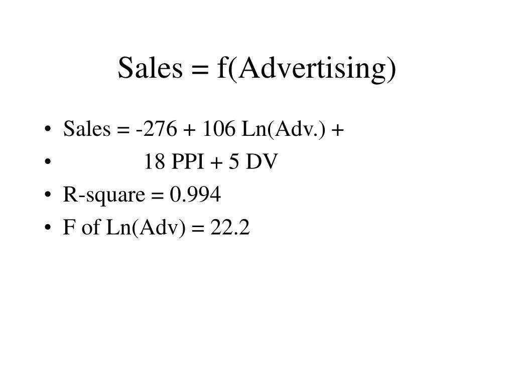 Sales = f(Advertising)