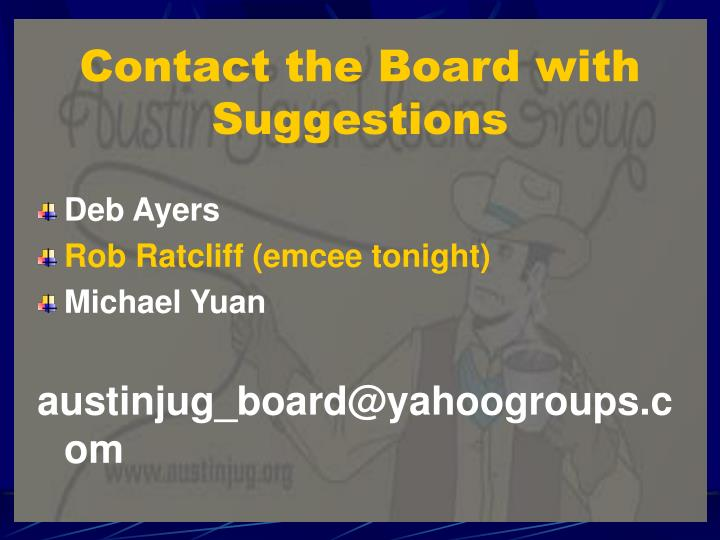 Contact the Board with Suggestions