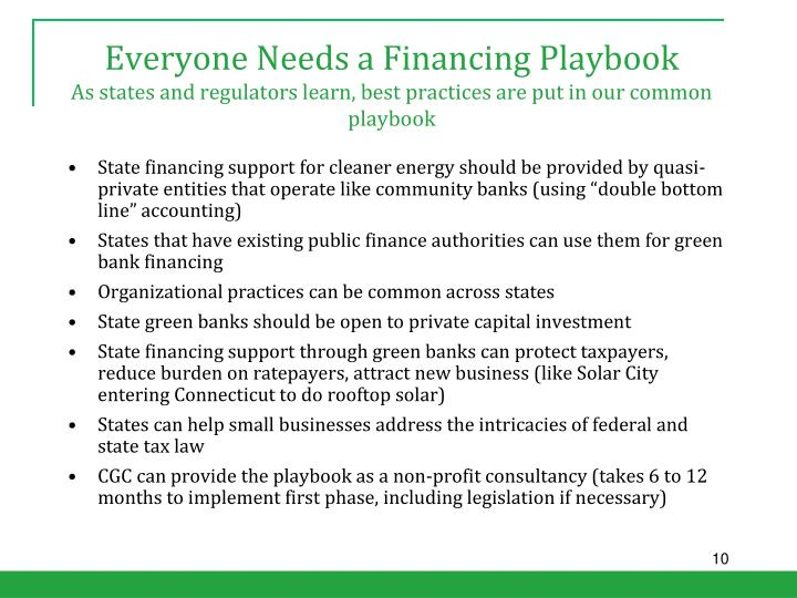 Everyone Needs a Financing Playbook