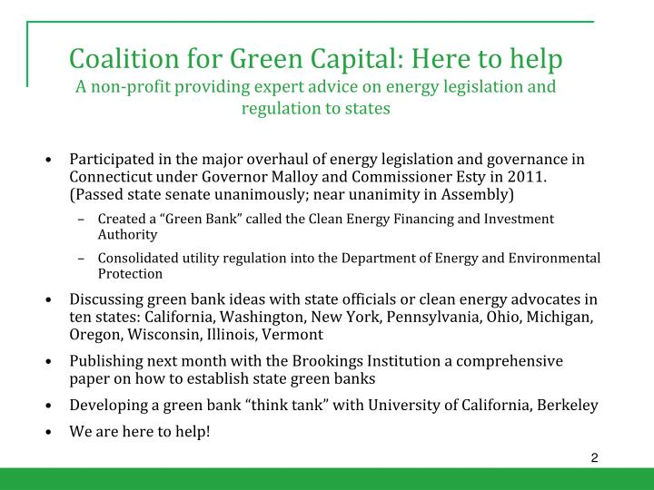 Coalition for Green Capital: Here to help