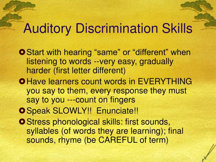 Auditory Discrimination Skills