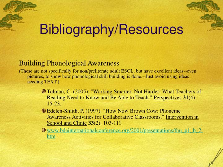 Bibliography/Resources