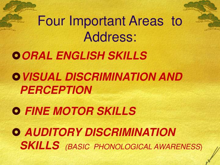 Four Important Areas  to Address: