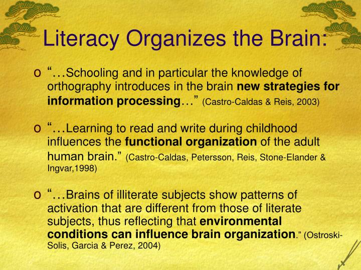 Literacy Organizes the Brain: