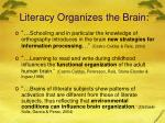 literacy organizes the brain