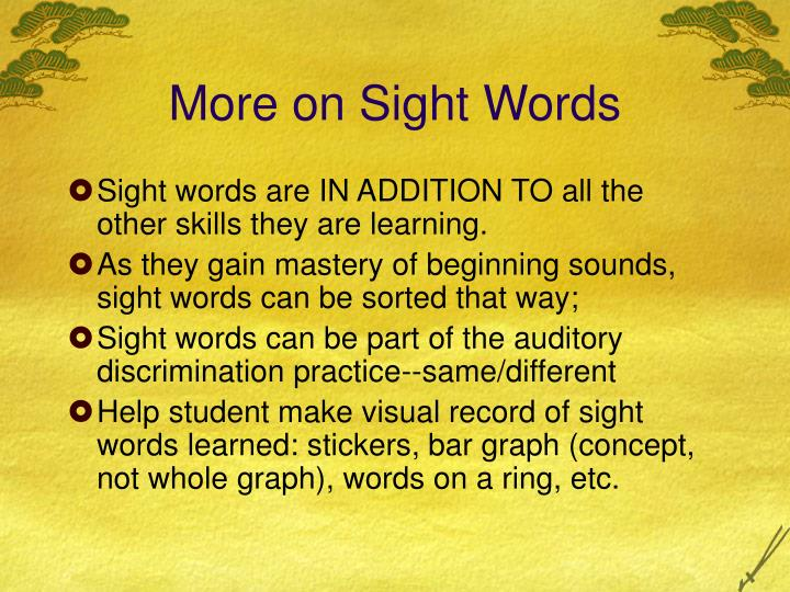 More on Sight Words