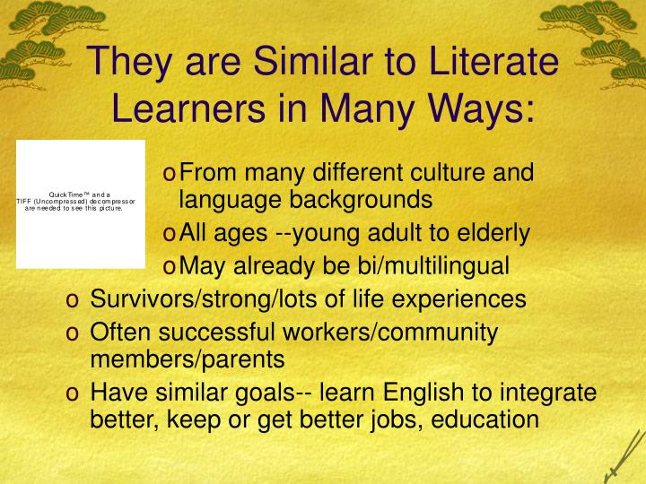 They are Similar to Literate Learners in Many Ways: