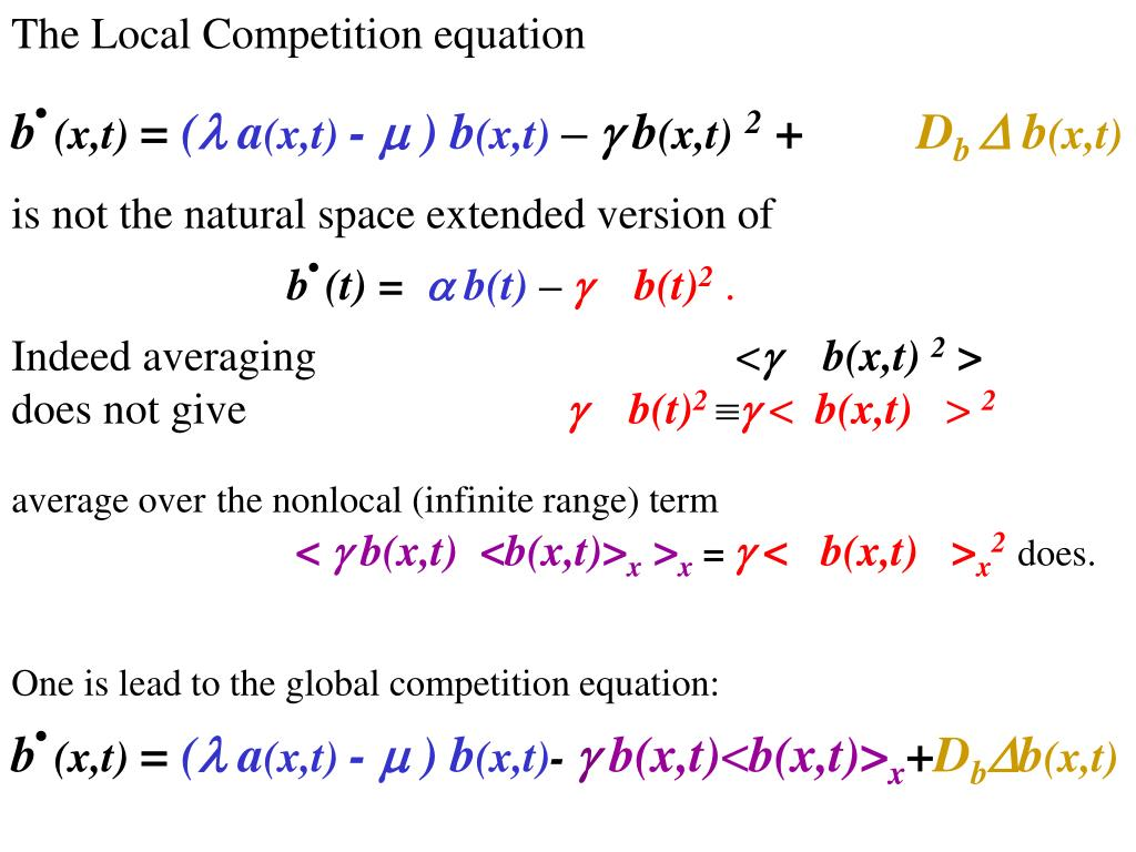 The Local Competition equation