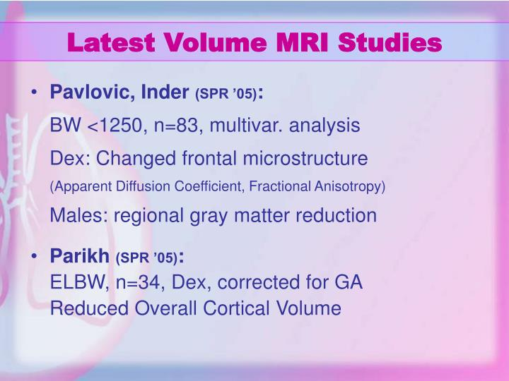 Latest Volume MRI Studies