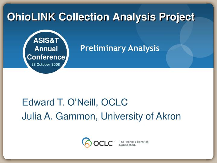 Ohiolink collection analysis project