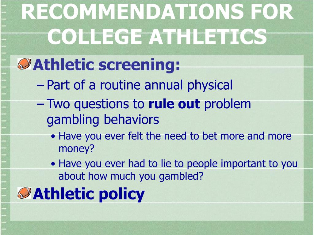 RECOMMENDATIONS FOR COLLEGE ATHLETICS