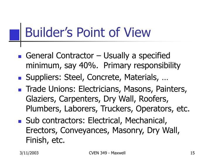 Builder's Point of View