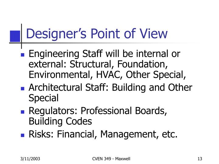 Designer's Point of View
