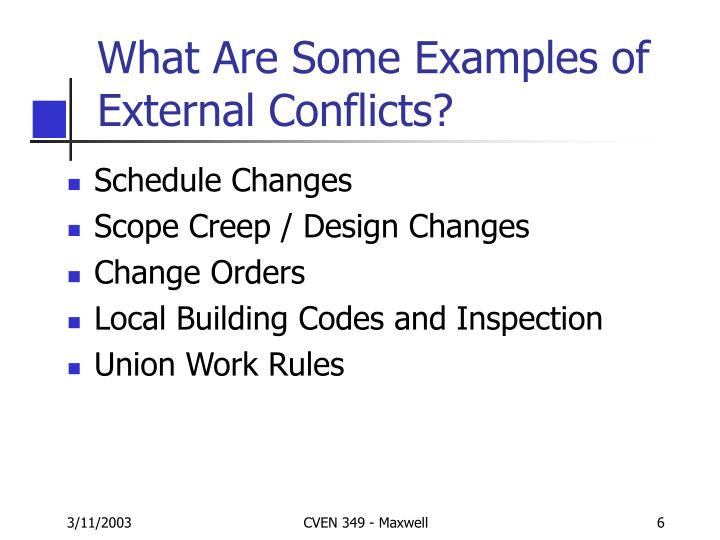 What Are Some Examples of External Conflicts?