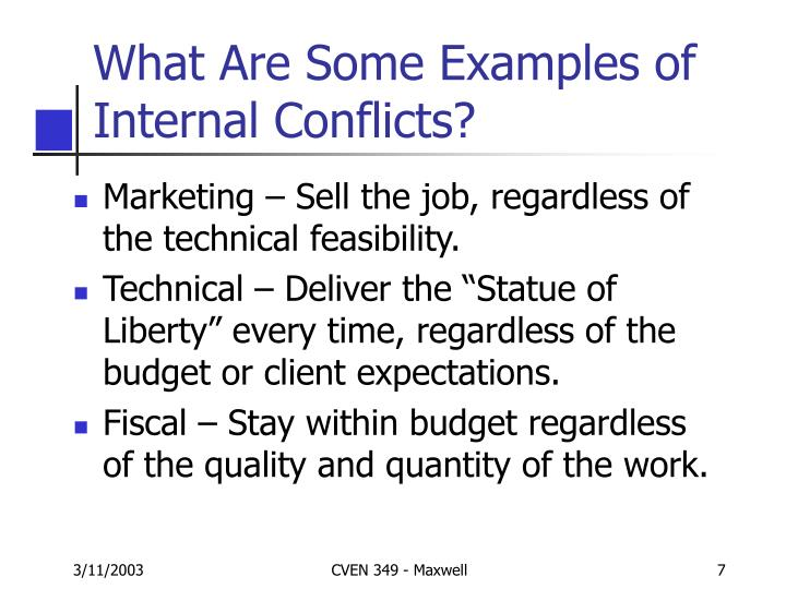 What Are Some Examples of Internal Conflicts?