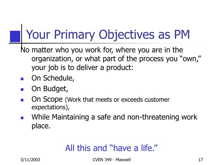 Your Primary Objectives as PM
