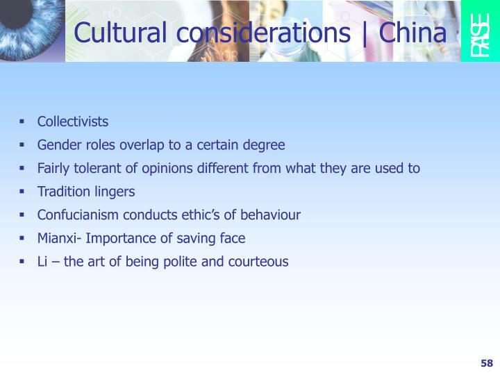 Cultural considerations | China