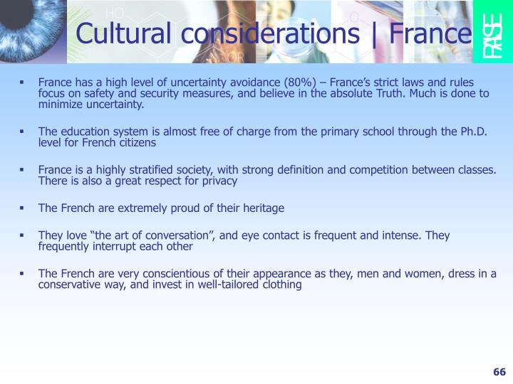 Cultural considerations | France
