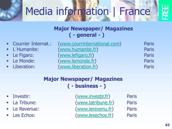 Media information | France