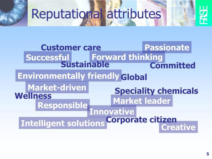 Reputational attributes