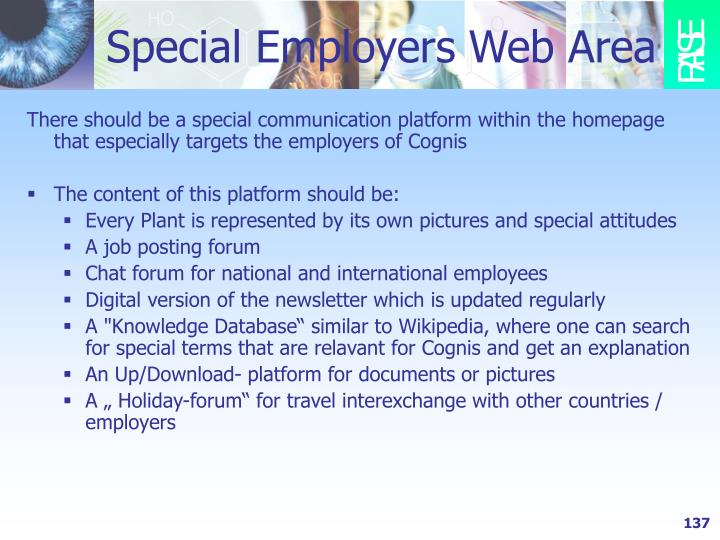 Special Employers Web Area