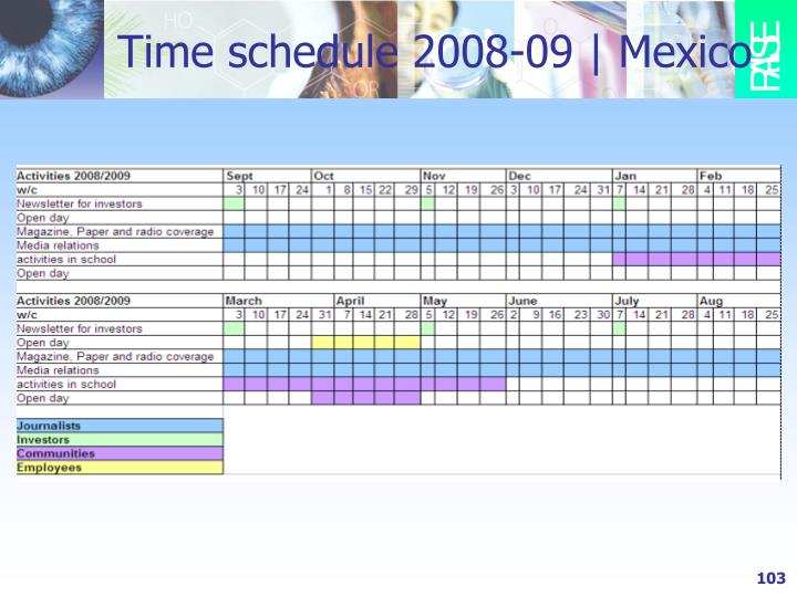 Time schedule 2008-09 | Mexico