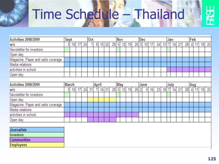 Time Schedule – Thailand