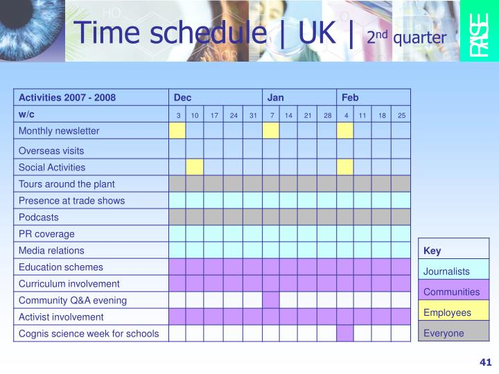 Time schedule | UK |