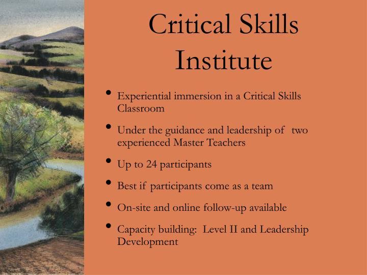Critical Skills Institute