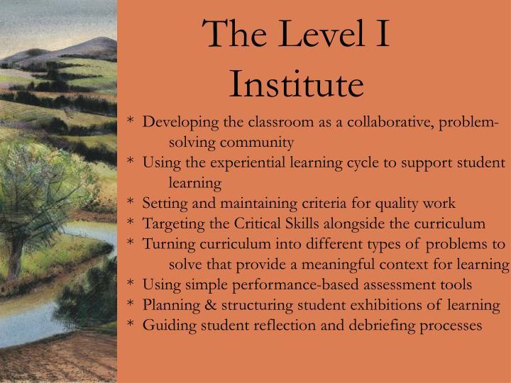 The Level I Institute