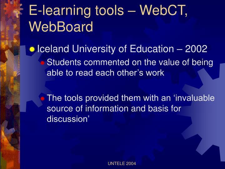 E-learning tools – WebCT, WebBoard