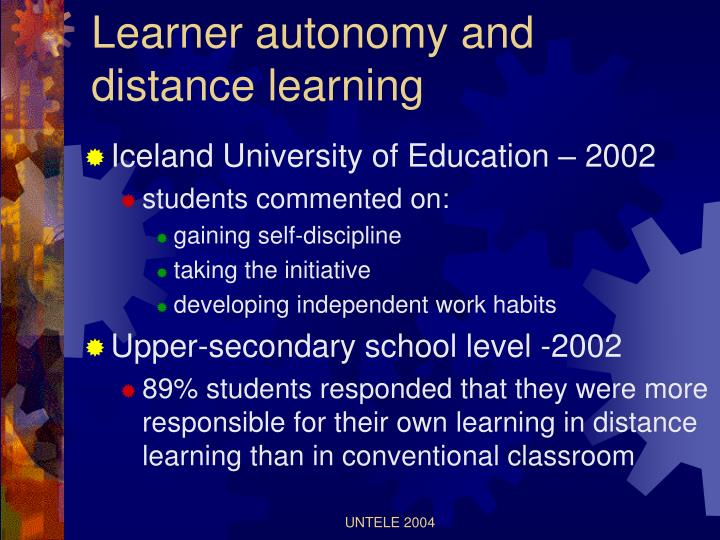 Learner autonomy and distance learning