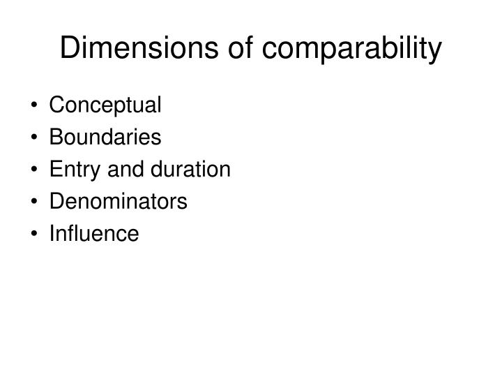 Dimensions of comparability