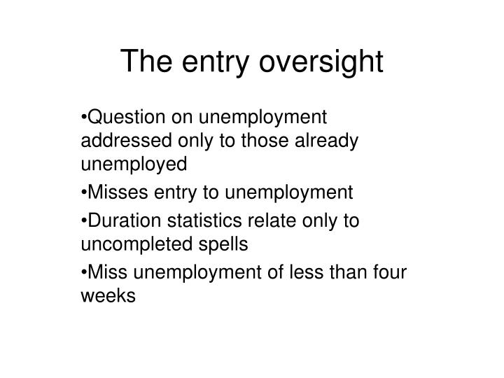 The entry oversight