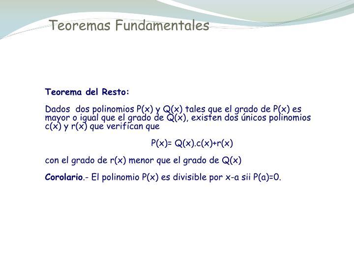 Teoremas Fundamentales