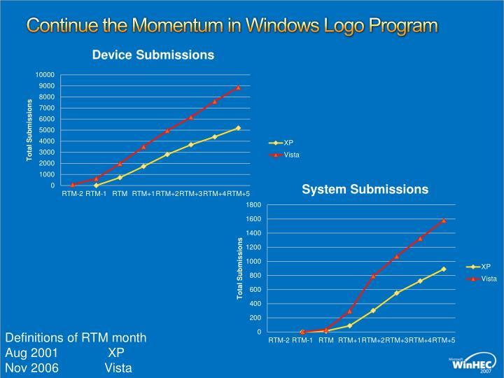 Continue the Momentum in Windows Logo Program