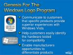 genesis for the windows logo program