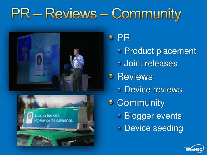 PR – Reviews – Community