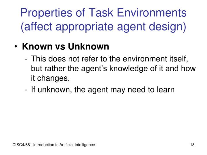 Properties of Task Environments